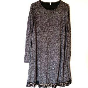 Pinkblush Heathered Gray Black Lace Swing Dress M